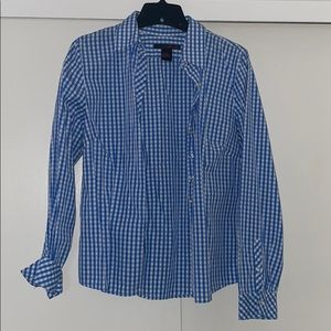 Blue n white button down shirt by Willi Smith